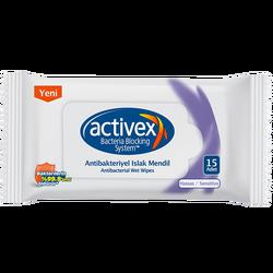 ACTIVEX - Antibacterial Wet Wipes 15 Sensitive Pieces 3'lü